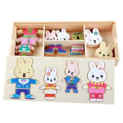 Rabbit dress changing Jigsaw wooden puzzle 72 pcs Montessori