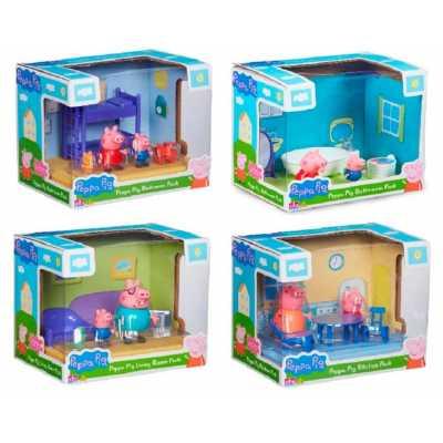 Комплект Peppa Pig - 2 бр. фигурки с обзавеждане за дневна, кухня, спалня, баня Прасе Пепа