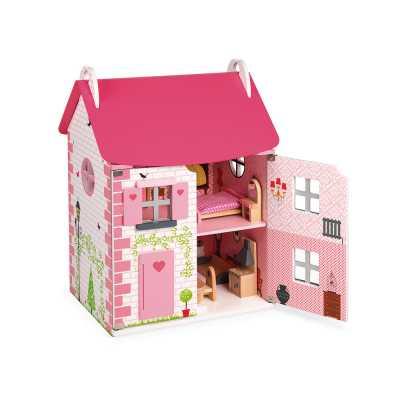 Дървена къща за кукли с мебели JANOD