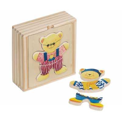 Мечки за обличане в дървена кутия Goki