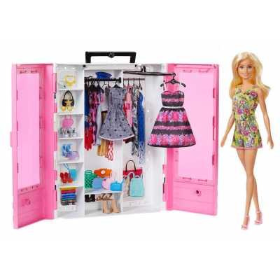 Комплект Гардероб с кукла Барби, дрехи и аксесоари Barbie