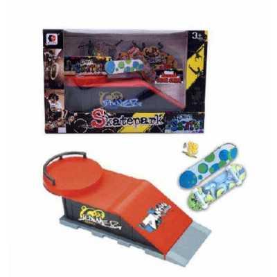 Рампа за скейт Street Skates с 2 мини скейтборд - фингърборд и аксесоари Round Deck Slide