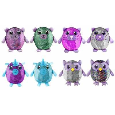 Шимис меки играчки - възглавници с блестящи обръщащи се пайети. Големи 36 см. мече, коте, еднорог, бухал Shimmeez