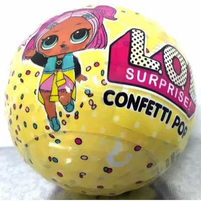Кукла Лол Конфети Поп с 9 изненади, 10 см. жълта топка LOL