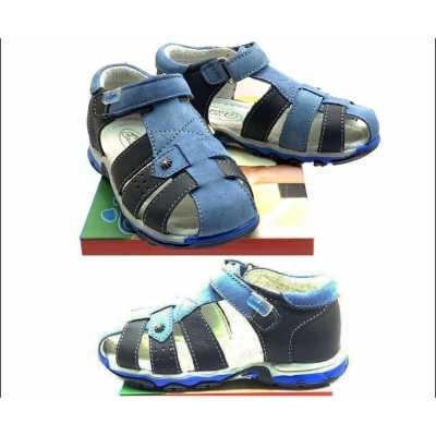 Детски сандали Chippo от естествена кожа в тъмно и светло синьо  - размер 26 - 31
