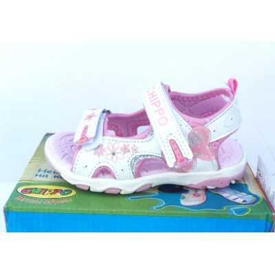 Детски сандали Chippo в бяло и розово - размер 25-30