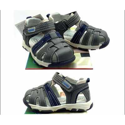 Бебешки сандал Chippo сив - син от естествена кожа - размер 21-25