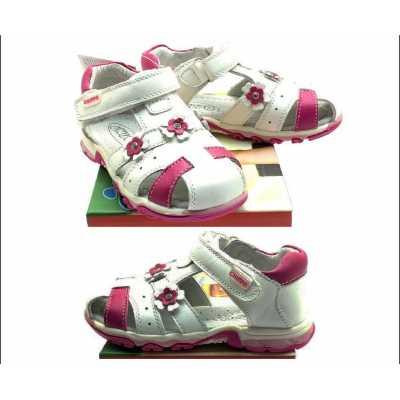 Детски сандали Chippo от естествена кожа бяло и цикламено - размер 26 - 31