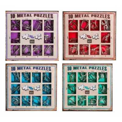 Комплект 10 метални пъзела 4 вида с различна трудност
