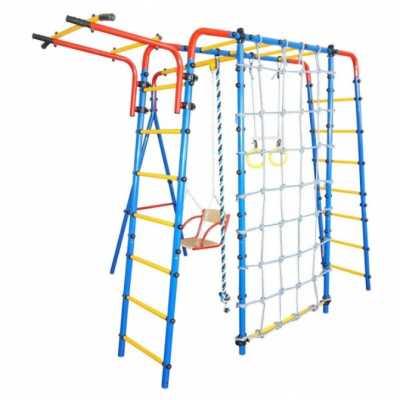 Детска площадка Млад атлет Комплекс с люлка, метална стълба, халки, въже и мрежа за катерене