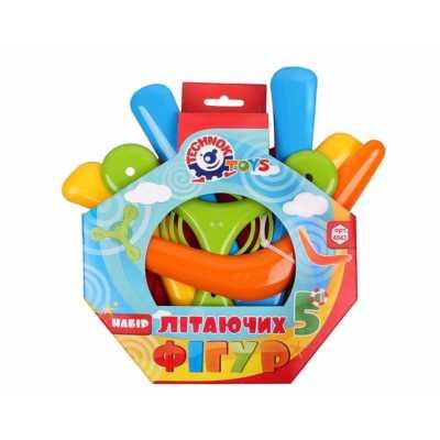 Игрален комплект летящи предмети фризби и бумеранг 5 бр.