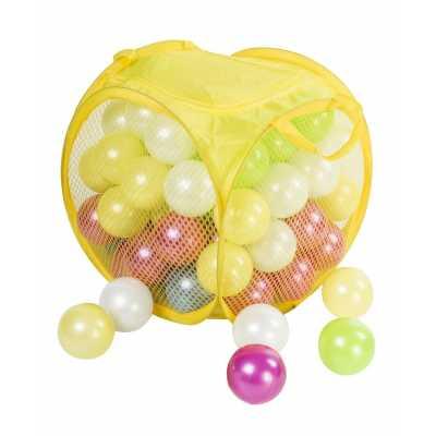Комплект 80 бр. меки топки 7,5 см. перлени цветове в кош с капак и цип 30 х 30 х 35 см.
