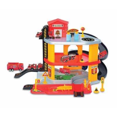 Комплект Триетажен Паркинг Пожарникарска станция, асансьор и 2 метални колички 64 х 41 х 11 см.