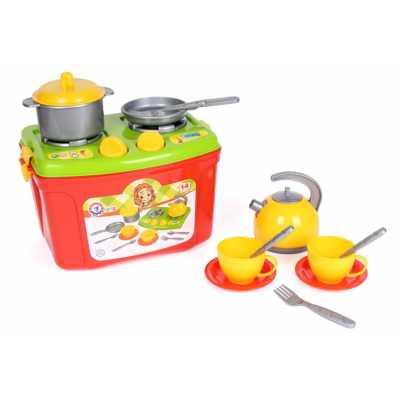 Детска мини кухня в куфар с дръжка и с кухненски аксесоари