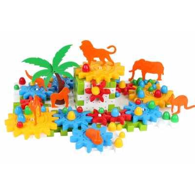 Конструктор с въртящи се елементи и животни 118 части в кутия